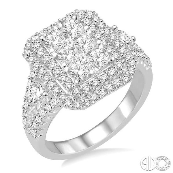 1 1/10 Ctw Round Cut Diamond Octagon Shape Lovebright Ring in 14K White Gold Coughlin Jewelers St. Clair, MI