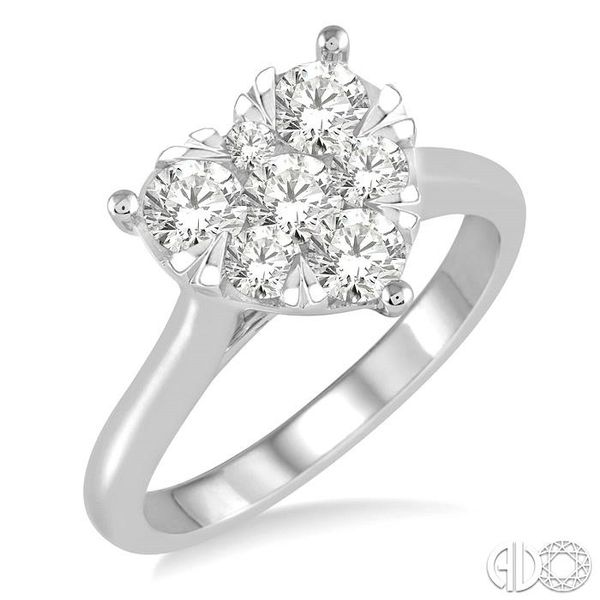 1 Ctw Round Cut Diamond Heart Shape Lovebright Ring in 14K White Gold Coughlin Jewelers St. Clair, MI