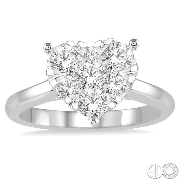 1 Ctw Round Cut Diamond Heart Shape Lovebright Ring in 14K White Gold Image 2 Coughlin Jewelers St. Clair, MI