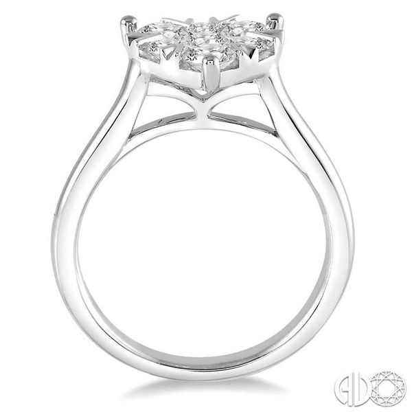1 Ctw Round Cut Diamond Heart Shape Lovebright Ring in 14K White Gold Image 3 Coughlin Jewelers St. Clair, MI