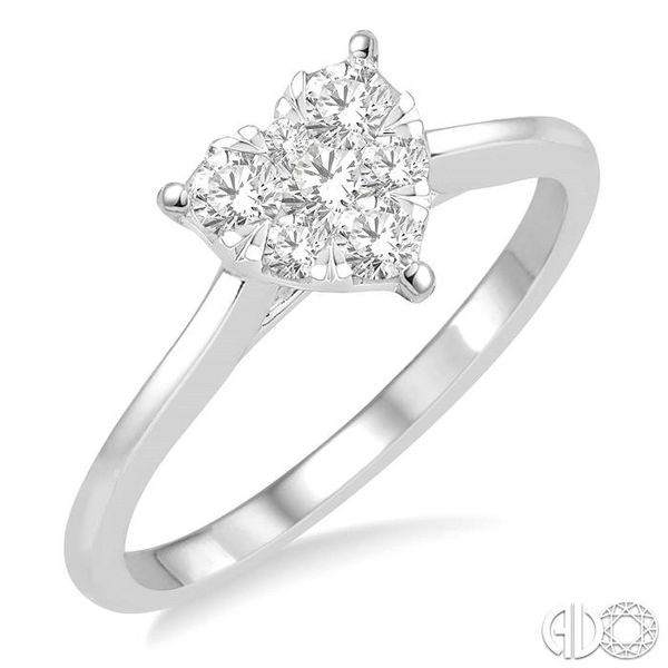 1/3 Ctw Round Cut Diamond Heart Shape Lovebright Ring in 14K White Gold Coughlin Jewelers St. Clair, MI