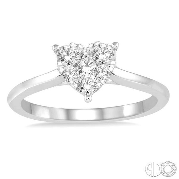 1/3 Ctw Round Cut Diamond Heart Shape Lovebright Ring in 14K White Gold Image 2 Coughlin Jewelers St. Clair, MI