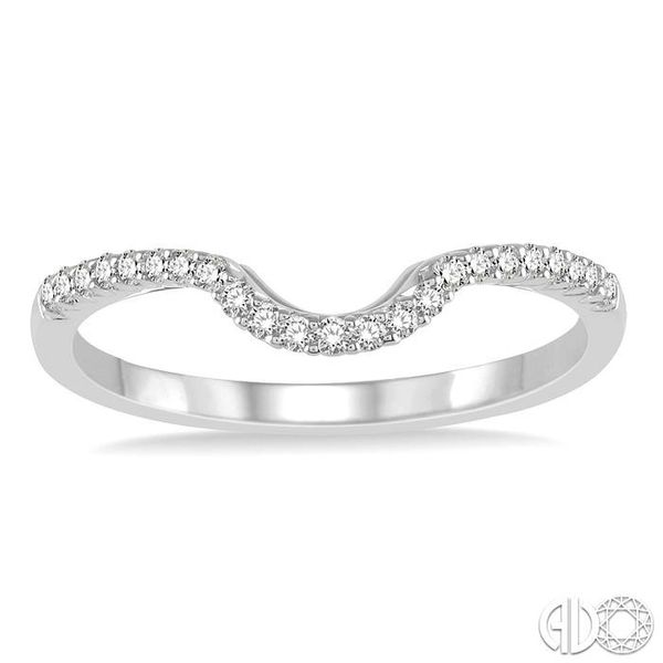 1/6 ctw Deep Curve Center Round Cut Diamond Wedding Band in 14K White Gold Image 2 Coughlin Jewelers St. Clair, MI