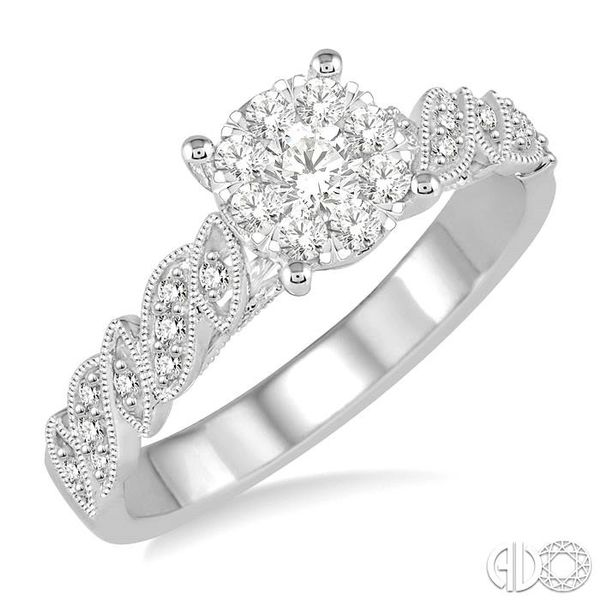 3/8 Ctw Round Cut Diamond Lovebright Vintage Engagement Ring in 14K White Gold Coughlin Jewelers St. Clair, MI