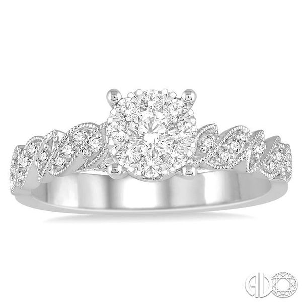 3/8 Ctw Round Cut Diamond Lovebright Vintage Engagement Ring in 14K White Gold Image 2 Coughlin Jewelers St. Clair, MI