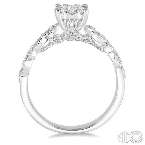 3/8 Ctw Round Cut Diamond Lovebright Vintage Engagement Ring in 14K White Gold Image 3 Coughlin Jewelers St. Clair, MI