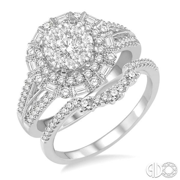 1 1/3 Ctw Diamond Lovebright Wedding Set With 1 1/10 Ctw Engagement Ring and 1/5 Ctw Wedding Band in 14K White Gold Coughlin Jewelers St. Clair, MI