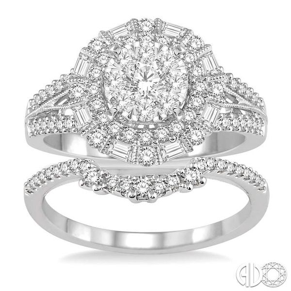 1 1/3 Ctw Diamond Lovebright Wedding Set With 1 1/10 Ctw Engagement Ring and 1/5 Ctw Wedding Band in 14K White Gold Image 2 Coughlin Jewelers St. Clair, MI