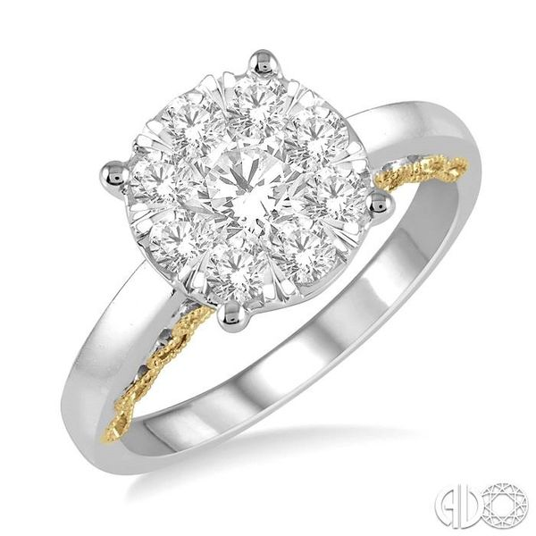 1 Ctw Round Diamond Lovebright Solitaire Style Engagement Ring in 14K White and Yellow Gold Coughlin Jewelers St. Clair, MI