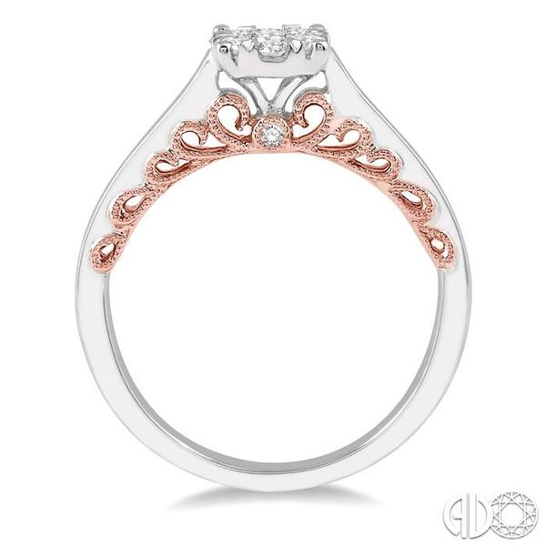1/3 Ctw Round Cut Diamond Lovebright Ring in 14K White and Rose Gold Image 3 Coughlin Jewelers St. Clair, MI
