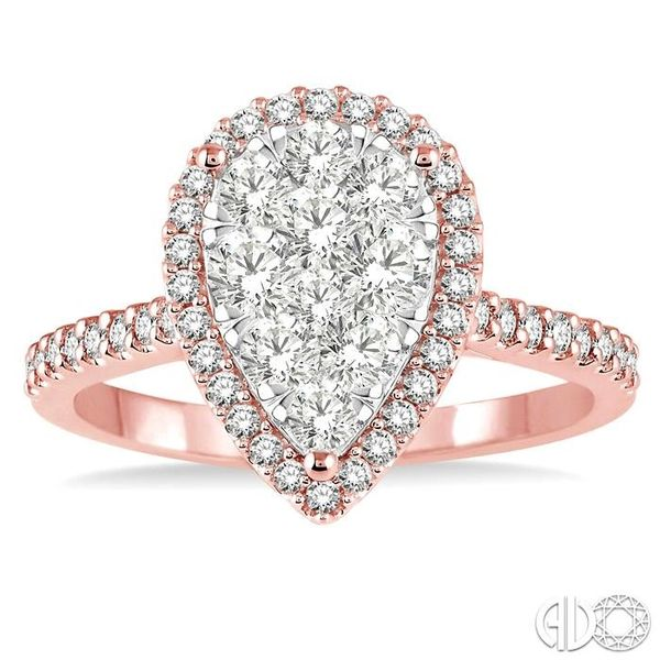 1 Ctw Pear Shape Diamond Lovebright Ring in 14K Rose and White Gold Image 2 Coughlin Jewelers St. Clair, MI