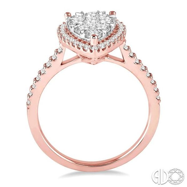 1 Ctw Pear Shape Diamond Lovebright Ring in 14K Rose and White Gold Image 3 Coughlin Jewelers St. Clair, MI