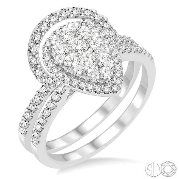 1 Ctw Diamond Lovebright Wedding Set with 3/4 Ctw Engagement Ring and 1/4 Ctw Wedding Band in 14K White Gold Coughlin Jewelers St. Clair, MI