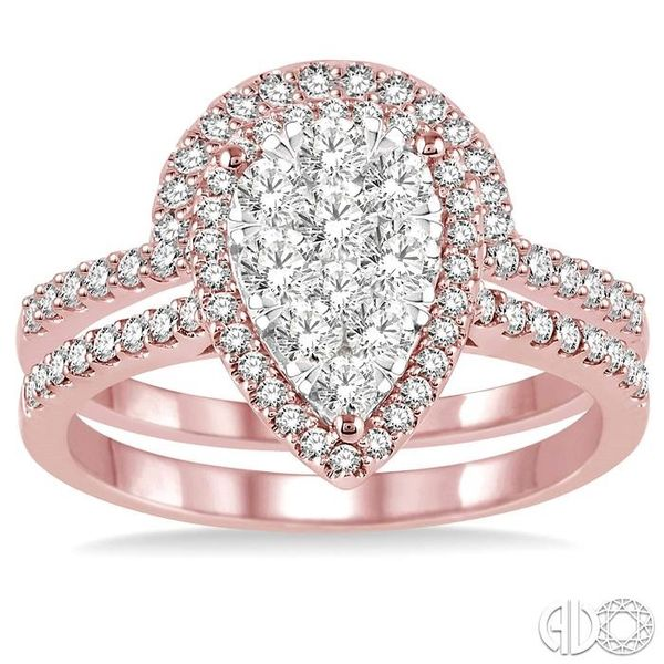 3/4 Ctw Diamond Lovebright Wedding Set with 1/2 Ctw Engagement Ring and 1/5 Ctw Wedding Band in 14K Rose and White Gold Image 2 Coughlin Jewelers St. Clair, MI