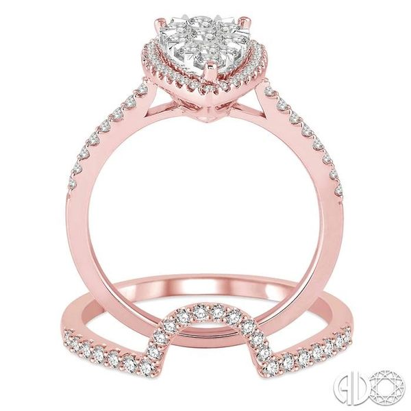 3/4 Ctw Diamond Lovebright Wedding Set with 1/2 Ctw Engagement Ring and 1/5 Ctw Wedding Band in 14K Rose and White Gold Image 3 Coughlin Jewelers St. Clair, MI