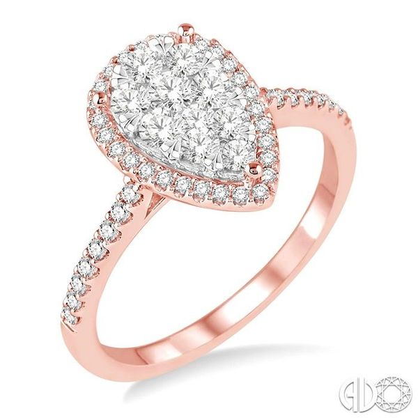 3/4 Ctw Pear Shape Diamond Lovebright Ring in 14K Rose and White Gold Coughlin Jewelers St. Clair, MI