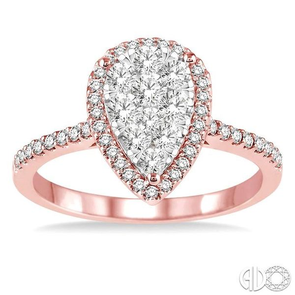 3/4 Ctw Pear Shape Diamond Lovebright Ring in 14K Rose and White Gold Image 2 Coughlin Jewelers St. Clair, MI