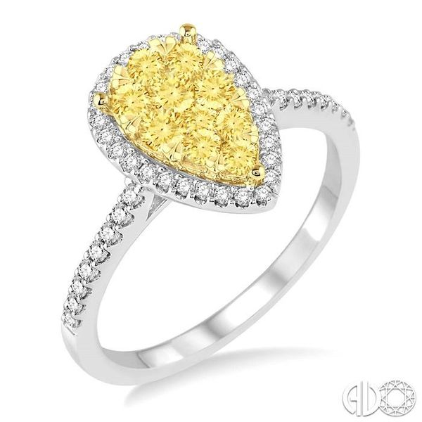 3/4 Ctw Pear Shape Diamond Lovebright Ring in 14K White and Yellow Gold Coughlin Jewelers St. Clair, MI