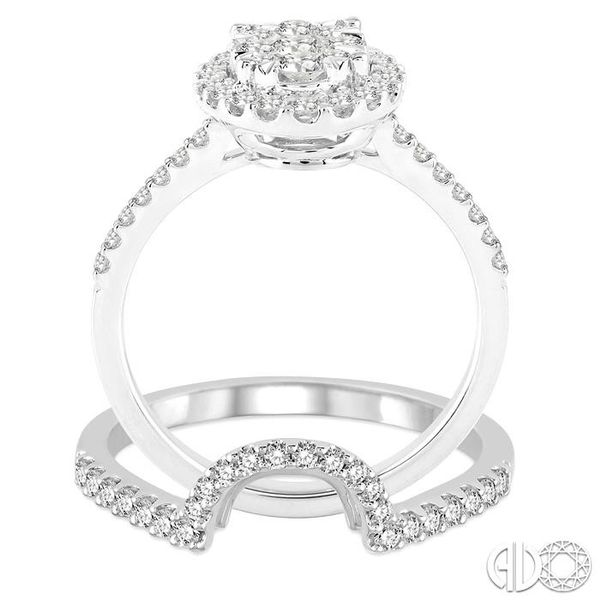 1 Ctw Oval Shape Diamond Lovebright Wedding Set with 3/4 Ctw Engagement Ring and 1/4 Ctw Wedding Band in 14K White Gold Image 3 Coughlin Jewelers St. Clair, MI