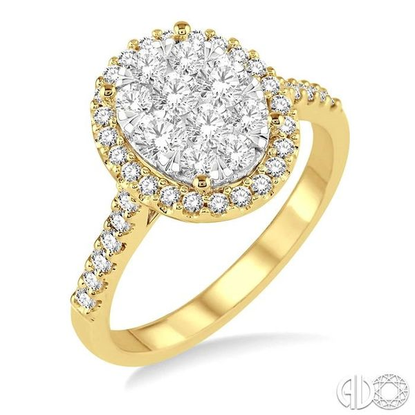 1 Ctw Oval Shape Diamond Lovebright Ring in 14K Yellow and White Gold Coughlin Jewelers St. Clair, MI