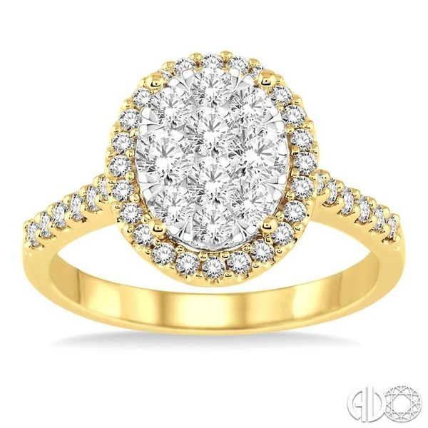 1 Ctw Oval Shape Diamond Lovebright Ring in 14K Yellow and White Gold Image 2 Coughlin Jewelers St. Clair, MI