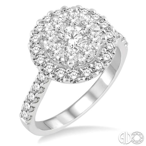 1 1/2 Ctw Round Shape Diamond Lovebright Ring in 14K White Gold Coughlin Jewelers St. Clair, MI