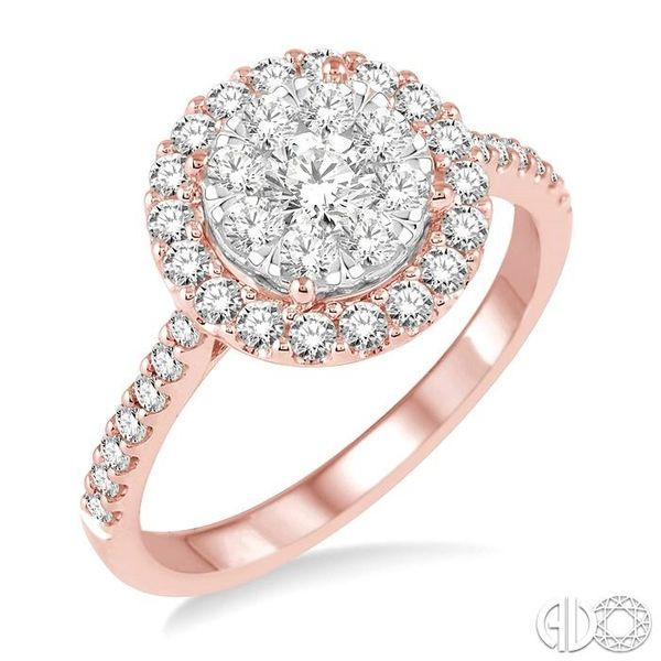 1 Ctw Round Shape Diamond Lovebright Ring in 14K Rose and White Gold Coughlin Jewelers St. Clair, MI