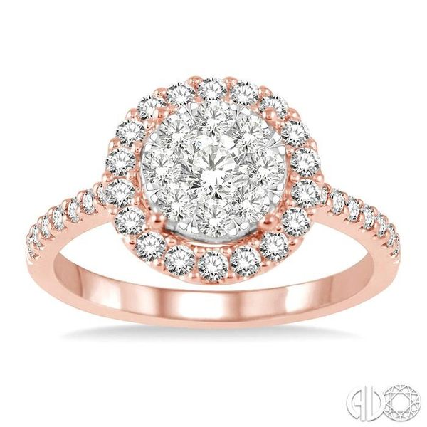 1 Ctw Round Shape Diamond Lovebright Ring in 14K Rose and White Gold Image 2 Coughlin Jewelers St. Clair, MI