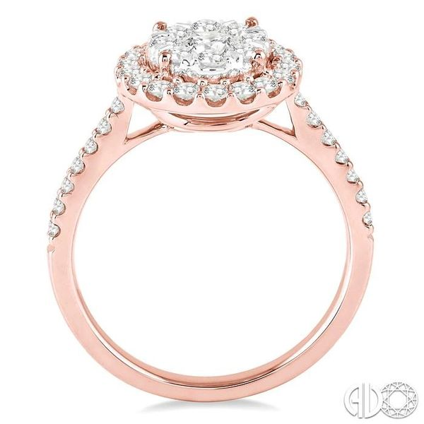 1 Ctw Round Shape Diamond Lovebright Ring in 14K Rose and White Gold Image 3 Coughlin Jewelers St. Clair, MI