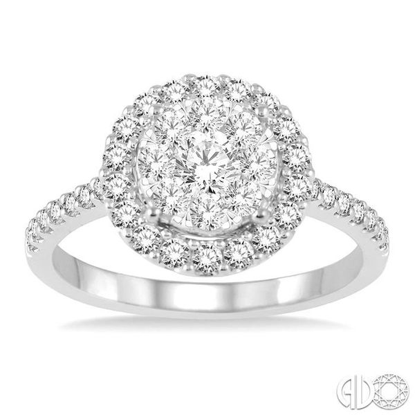 1 Ctw Round Shape Diamond Lovebright Ring in 14K White Gold Image 2 Coughlin Jewelers St. Clair, MI