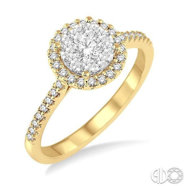 1/2 Ctw Round Shape Diamond Lovebright Ring in 14K Yellow and White Gold Coughlin Jewelers St. Clair, MI