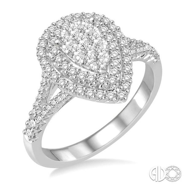 3/4 Ctw Pear shape Diamond Lovebright Diamond Ring in 14K White Gold Coughlin Jewelers St. Clair, MI
