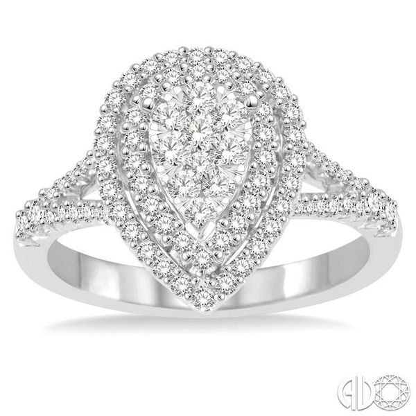 3/4 Ctw Pear shape Diamond Lovebright Diamond Ring in 14K White Gold Image 2 Coughlin Jewelers St. Clair, MI