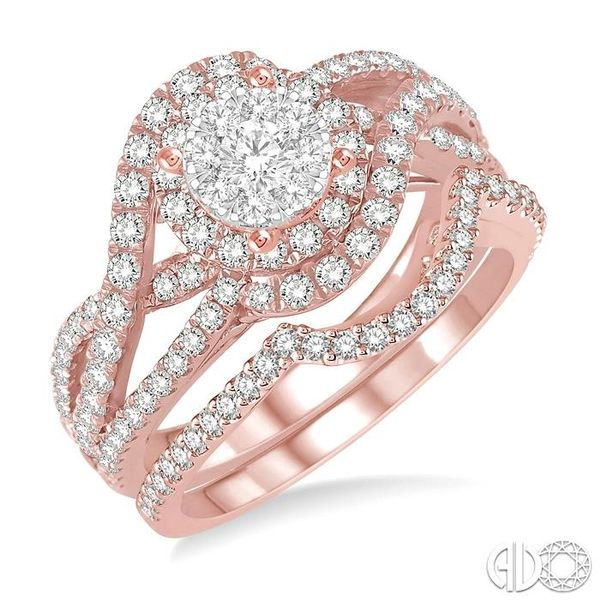 1 1/4 Ctw Diamond Lovebright Wedding Set with 1 1/10 Ctw Engagement Ring and 1/5 Ctw Wedding Band in 14K Rose and White Gold Coughlin Jewelers St. Clair, MI