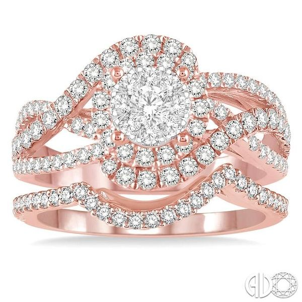 1 1/4 Ctw Diamond Lovebright Wedding Set with 1 1/10 Ctw Engagement Ring and 1/5 Ctw Wedding Band in 14K Rose and White Gold Image 2 Coughlin Jewelers St. Clair, MI