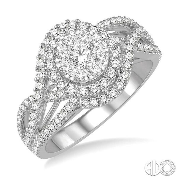 1 1/10 Ctw Round Cut Diamond Lovebright Engagement Ring in 14K White Gold Coughlin Jewelers St. Clair, MI