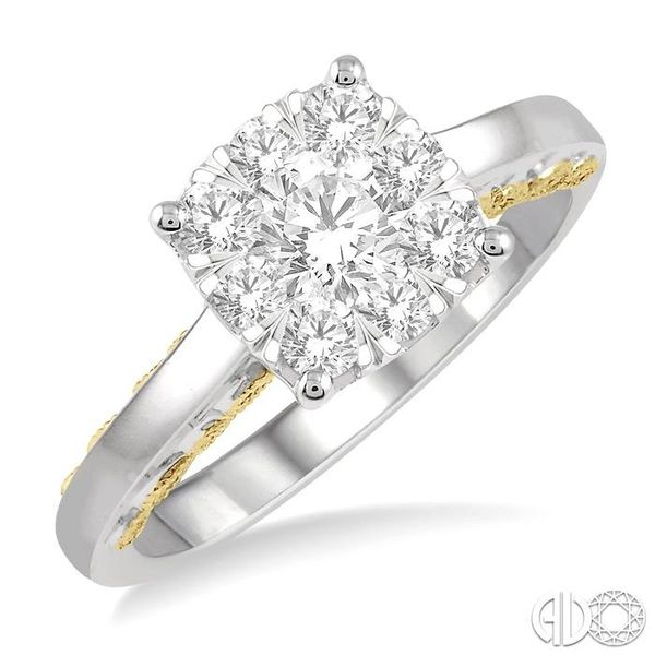 3/4 ct Lovebright Diamond Cluster Ring in 14K White and Yellow Gold Coughlin Jewelers St. Clair, MI