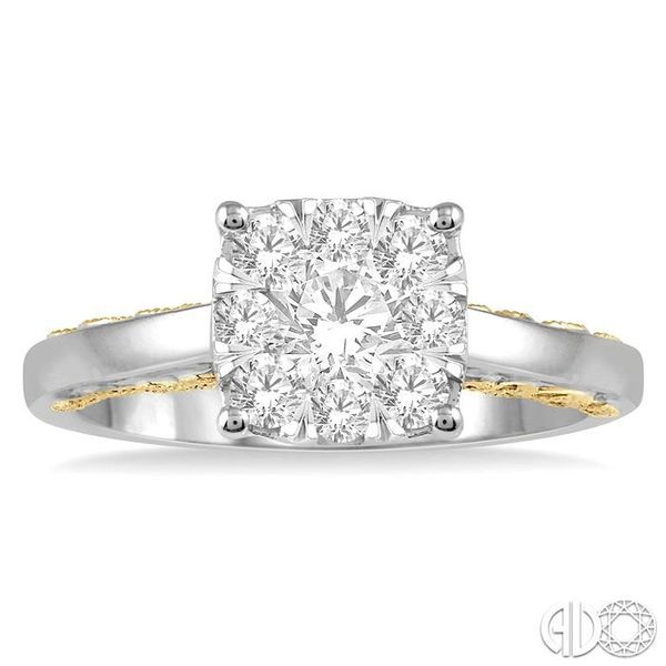3/4 ct Lovebright Diamond Cluster Ring in 14K White and Yellow Gold Image 2 Coughlin Jewelers St. Clair, MI