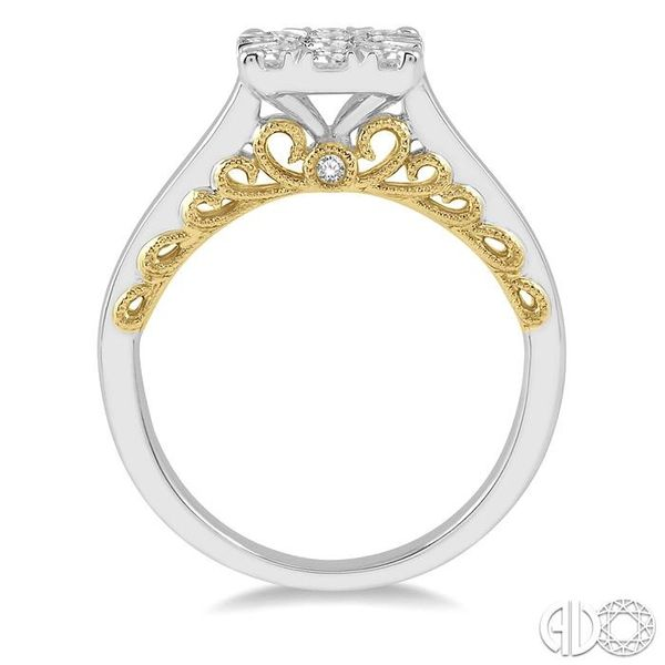 3/4 ct Lovebright Diamond Cluster Ring in 14K White and Yellow Gold Image 3 Coughlin Jewelers St. Clair, MI