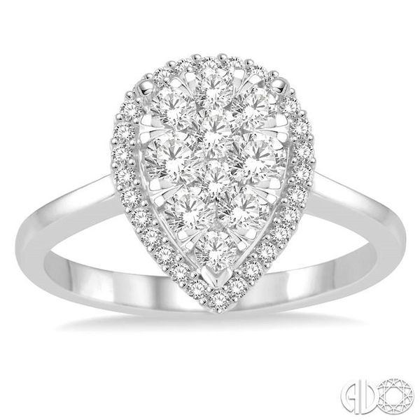 7/8 Ctw Pear Shape Diamond Lovebright Ring in 14K White Gold Image 2 Coughlin Jewelers St. Clair, MI