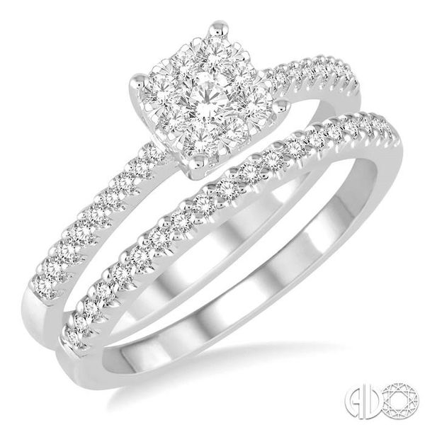 1 Ctw Round Cut Diamond Square Shape Lovebright Bridal Set with 3/4 Ctw Engagement Ring and 1/4 Ctw Wedding Band in 14K White Go Coughlin Jewelers St. Clair, MI