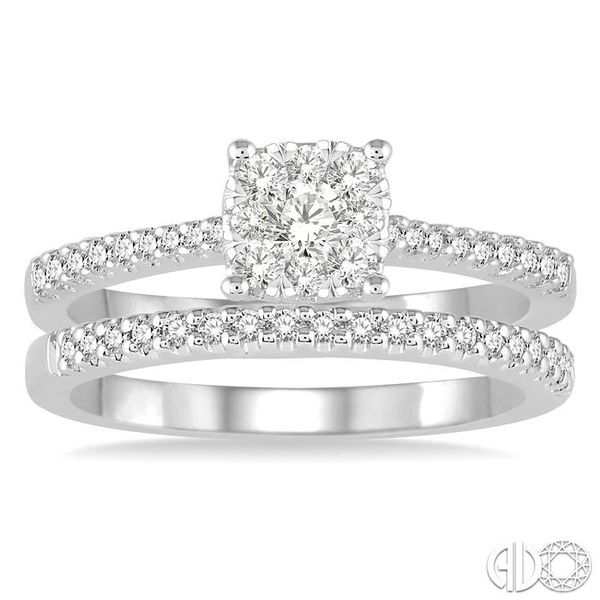 1 Ctw Round Cut Diamond Square Shape Lovebright Bridal Set with 3/4 Ctw Engagement Ring and 1/4 Ctw Wedding Band in 14K White Go Image 2 Coughlin Jewelers St. Clair, MI