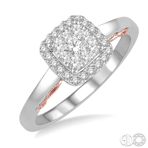 1/3 Ctw Cushion Shape Lovebright Round Cut Diamond Ring in 14K White and Rose Gold Coughlin Jewelers St. Clair, MI