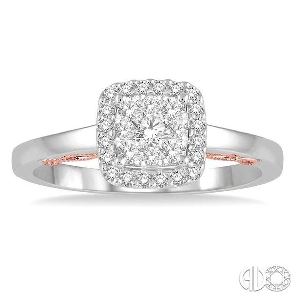 1/3 Ctw Cushion Shape Lovebright Round Cut Diamond Ring in 14K White and Rose Gold Image 2 Coughlin Jewelers St. Clair, MI