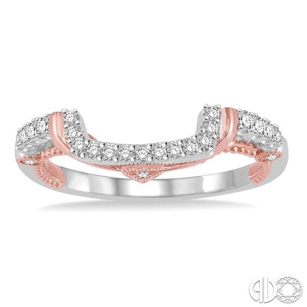 1/5 Ctw U-Shape Crevice Round Cut Diamond Wedding Band in 14K White and Rose Gold Image 2 Coughlin Jewelers St. Clair, MI