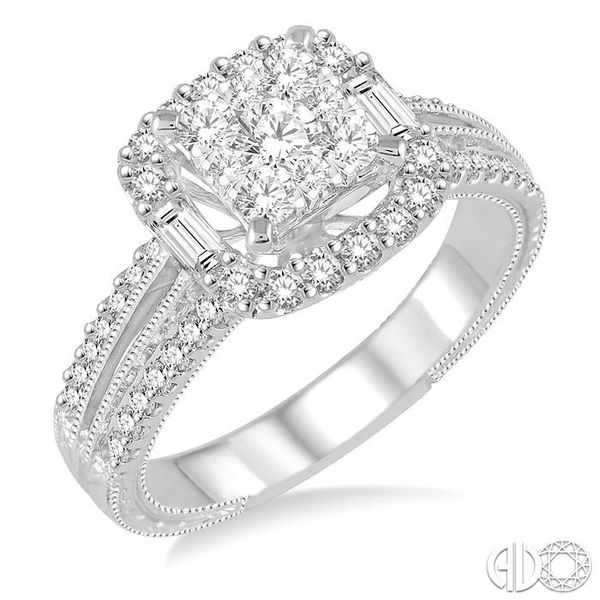 1 Ctw Square Shape Diamond Lovebright Engagement Ring in 14K White Gold Coughlin Jewelers St. Clair, MI