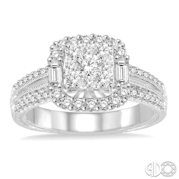 1 Ctw Square Shape Diamond Lovebright Engagement Ring in 14K White Gold Image 2 Coughlin Jewelers St. Clair, MI