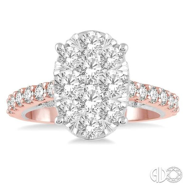 2 ct Oval Shape Lovebright Diamond Cluster Ring in 14K Rose and White Gold Image 2 Coughlin Jewelers St. Clair, MI
