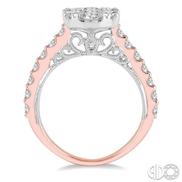 2 ct Oval Shape Lovebright Diamond Cluster Ring in 14K Rose and White Gold Image 3 Coughlin Jewelers St. Clair, MI