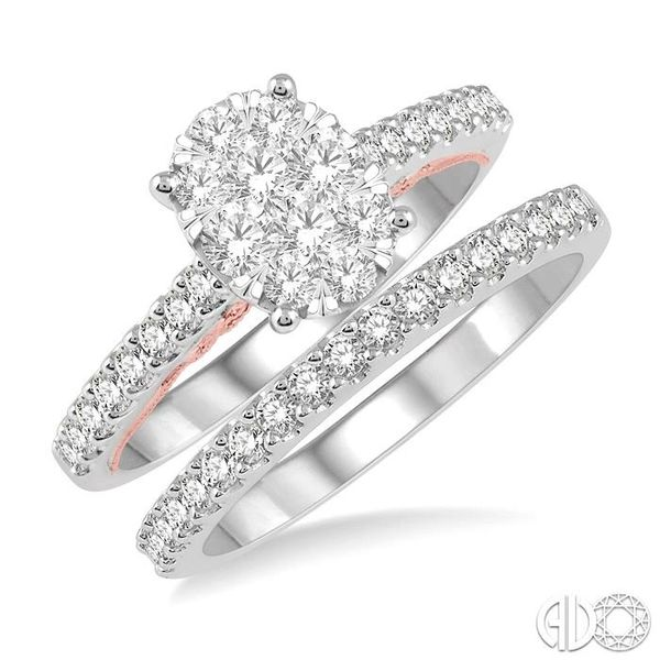 1 ctw Lovebright Diamond Wedding Set With 3/4 ctw Oval Shape Engagement Ring in 14K White and Rose Gold and 1/4 ctw Wedding Band Coughlin Jewelers St. Clair, MI